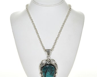 Spiderweb Turquoise Native American Silver Pendant with Bead Necklace