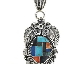 Navajo Multi Color Inlaid Silver Pendant with Chain or Necklace