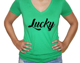 St. Patricks Day  Lucky Women's Short Sleeve V Neck T - Shirt Top  in Green