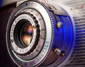 Vintage Camera Photo Print, Graphic Designer Gifts, Photographer Gifts, Kodak Pony 135 Camera, Vintage Camera Lens