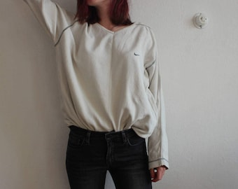 Vintage Beige Oversized Nike Sweater Pullover Shirt for Unisex