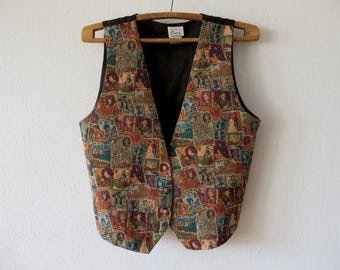 Tapestry Women Vest Romantic Country XXL Waistcoat Tribal Size Plus Gift to Mom Cottage Chic Brown Tapestry Vintage Clothing Traditional 37