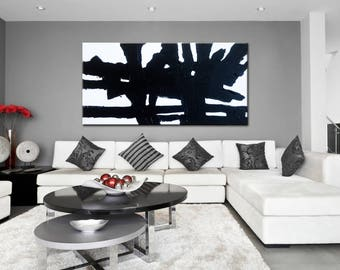 living room wall art. Abstract Painting  Black and White Minimal Art Original on canvas Living Room room wall art Etsy