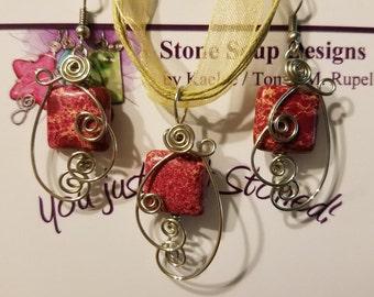 Pink Pendant & Earring Set