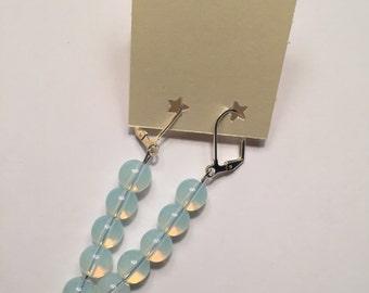 Handmade Beaded Dangle Earrings-Milky Blue