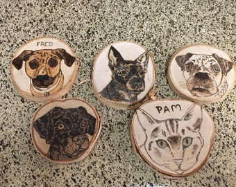Pet Portrait Ornament, Personalized, Pet Gifts, Wooden Ornaments, Pyrography, Gifts for Pet Lovers, Ornaments, Pets, Dogs, Cats, Birds, Fish