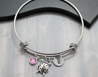 Lady Bug Bangle - Lady Bug Gift for Mom - Lady Bug Jewelry - Lady Bug Charm Bracelet - Personalized