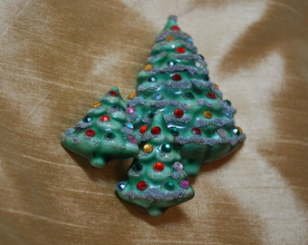 Vintage Christmas Tree Pin and Clip On Earring Set J2-009