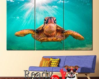 Sea turtle, Sea turtle art, Sea turtle canvas, Sea turtle print, Sea animal, Sea turtle poster, Under the sea, Sea life, Sea turtle print