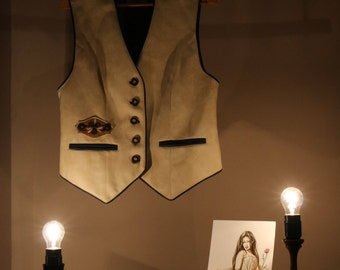 90s vest true vintage 40 M beige costumes Bayern Munich's Oktoberfest folk festival Panel synthetic leather vegan
