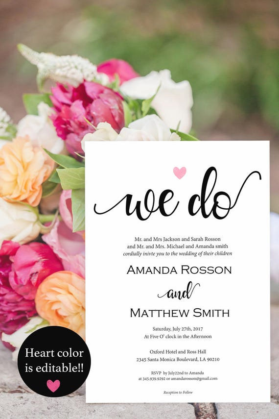 We Do Wedding Invitation - Heart Wedding Invitation - Blush Pink Editable Text - Wedding Template - Downloadable Wedding #WDH87575432