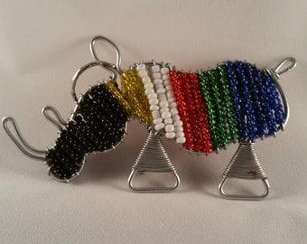 Beaded Key Ring Rhino SA Flag Colors