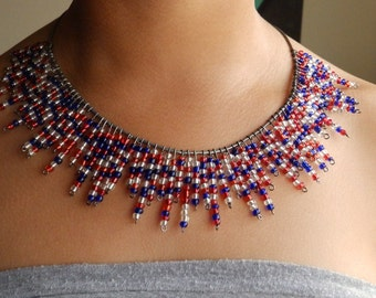 The Patriot-red, blue, and crystal seed bead glass necklace