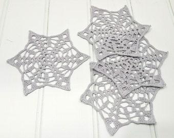Unique coaster set, lace star coasters, Wedding decor, housewarming gift, crochet coasters