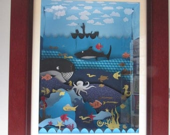 WATER WORLD 3D, hand-made with cut paper, ideal for a gift.