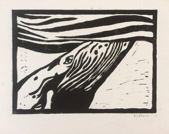 Humpback whale linocut print