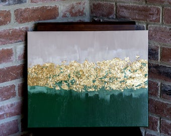 Abstract Green, Tan, and Gold Painting