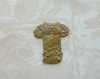 Beautiful Mystic Egyptian Goddess Stamping(1 pc)French Art Nouveau Goddess Brass Stamping/Goddess Stamping/Vintage Goddess Pendant [#4]