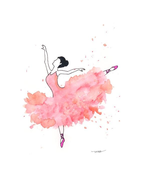 Ballet Dancer Watercolor Print - Ballet Dancer Art - Pink Ballet Dancer Modern Abstract Print Decor