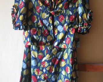 vintage blue floral dress with cardigan