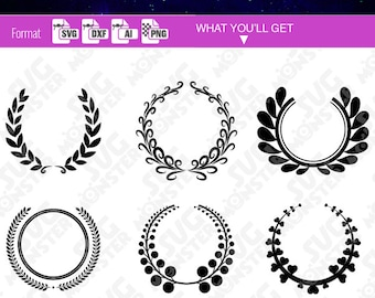 LAUREL WREATH MONOGRAM svg circle Border clipart download svg frame svg files for cricut ai dxf Silhouette clipart clip art diy 141