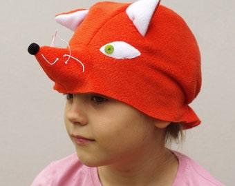 Kids costume, fox costume hat, animal costume hat, kids dress up hat, toddler pretend play, toddler costume, kids Halloween costume