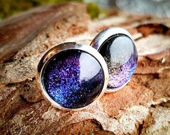 Earrings into the space studs, rings, purple, blue, glitter black, studs, ear jewellery