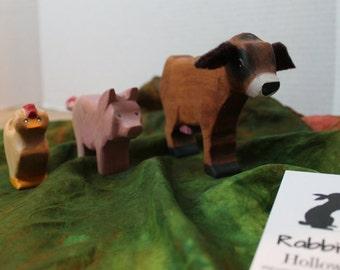 Farm Animal Set// Cow // Pig // Chicken // Waldorf Style // Wooden Figures