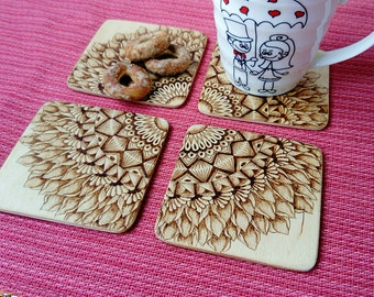 Wooden woodburned mandala coasters - Set of 4 - Flower mandala coasters - Pyrography - Home warming gift