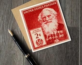 Samuel Morse, Morse code, telegraphy, telegraph, American inventors, Famous Americans, Morse code art, unique gift cards, science cards