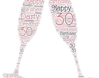 """HAPPY 30TH BIRTHDAY! Celebrate turning 30 with these lovely word cloud champagne glasses on a 22"""" silver necklace!"""
