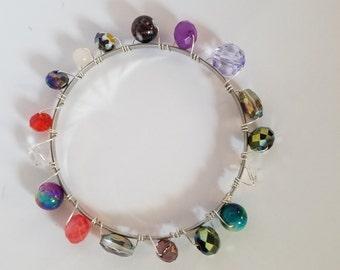 Multicolored bead bangle bracelet