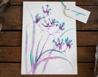 Australian Native flora Kangaroo paw watercolour eco-friendly bamboo paper print, A5, A4 and A3