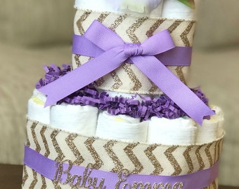 Lavender Gold Diaper Cake, Baby Shower Centerpiece Decor, Baby Shower Gift, Girl Gold and Purple Floral Chevron Diaper Cake Gift, 2 Tier