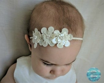 Ivory Headband, Faux Leather Flower Headband, Skinny Elastic Headband, Small Flower Headband, Infant Headband