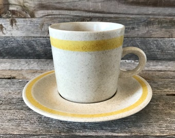 Set of 7 Vintage Statastone Stoneware Coffee Cups With Saucers