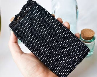 Ready to ship Black beaded phone pouch Crochet iphone case Iphone 7 crochet case Crochet Samsung bag Crochet gadget case Boho crochet pouch