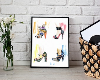 shoe lover gift, fashion illustration, art print - 3 sizes available Giclee print