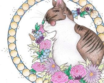 Floral Cat Illustration Print