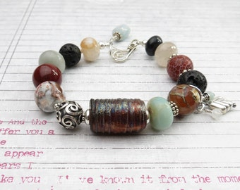 Dark Red Bracelet // Earthy Jewelry // Boho Jewelry // Beaded Bracelet