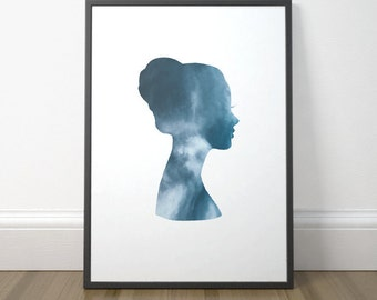 Modern Silhouette Art, Printable Silhouette Wall Art, Printable Art For Women, Printable Woman Silhouette, Instant Download, Digital Print