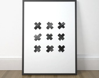 Modern Black and White Print, Gallery Wall Decor, Swiss Cross, Printable Scandinavian Art, Minimalist Art, Instant Download, Digital Print