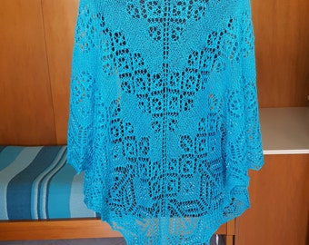 Lace torquoise wide shawl with beads.