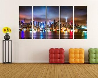 New york skyline canvas print wall art, modern canvas wall decor, extra large wall art canvas for home decor, photo print No:3S92