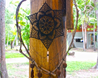 Crystal Crochet Dream Catcher Citrine Mandala Rustic Boho Black Dreamcatcher