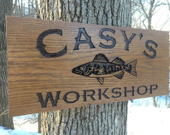 Fishing Lover's Personalized Workshop Wood Sign, Carved Wooden Signs, Custom Christmas/Housewarming/Birthday Gift, Workshop Sign