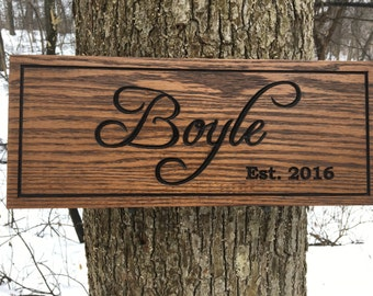 Custom Wood Carved Sign, Customized Family Name Sign, Wood Sign with Names, Personalized Wooden Sign, Housewarming Gift, Engraved Wood Sign