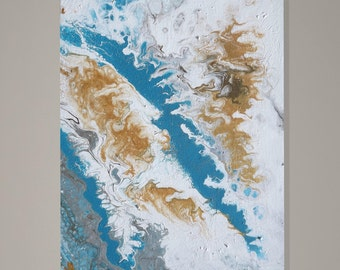 Fluid Original Abstract - Gold, Silver and Turquoise  - 16 x 20 Wrapped Canvas