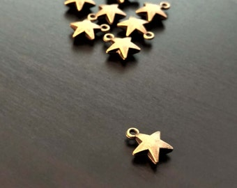 4 Bronze Star Charms   Tiny Star Charm   Bronze Star Pendant   Jewelry Making Supplies   Celestial Charm   Ready to Ship from USA   BR101-4