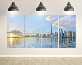 Toronto skyline at sunset Ontario, Canada Leather Print/Large Toronto Print/Multi Panel Toronto Print/Toronto panorama/Better than Canvas!